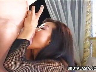 Asian whore tames the thick royal bed...