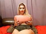 Big Tit Blonde Teases & Sucks Toy On Cam