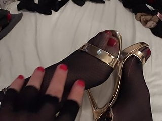 Tranny stockings cock...