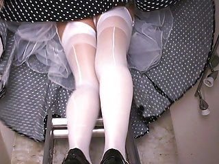 White Seamed Stockings And Lace Panties