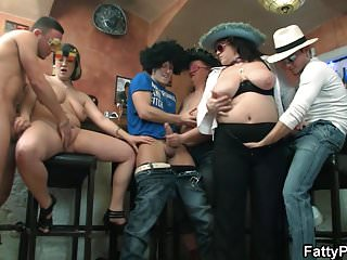 Massive tits chubby girls gang...