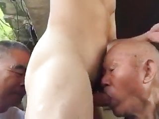 Two chinese grandpas share cock amp ass outdoors...