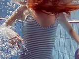 Hot European teen in striped clothes
