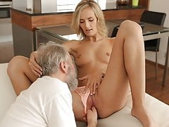 OLD4K. Tender sex is the way blonde and old husband begin