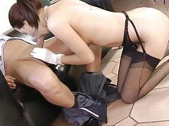 Lyen sucking in fully fashioned black nylons
