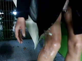 In mini dress and strapless, sperm smeared on the legs