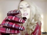 Candy May - Jerks off BBC with leather gloves