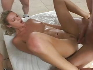 British slut Ashley Long gangbang