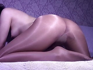 Stacy in ultra shiny suntan pantyhose looks amazing !