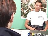 Amateur twink jacks off while being drilled in the rear