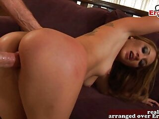 Hot British babe tries anal threesome, mmf and DP