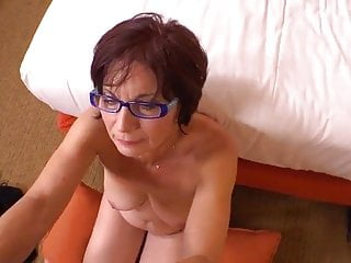 Granny plays with young man for the first...