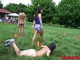 Amateur outdoor hazing students gone lesbian