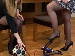 Chatty girl in pantyhose and heels