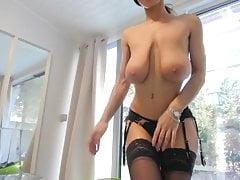 Brunette milf striptease and pantyhose fetish