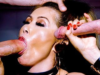 Sizzling kianna dior swallows two thick white dongs...