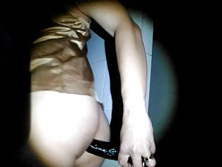- Gold Dark in the nightgown Dildoing satin