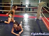 Lesbian babes wrestle in boxing ring