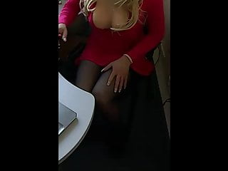 hot blondee in red dress at work other focus..)HD Sex Videos