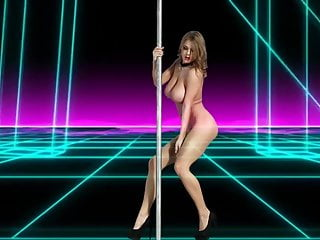 CRY FOR YOU – girl with big natural tits does striptease pole dance
