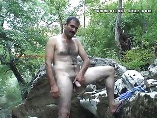 Tarek Wanks His Hairy Arab Penis by a River