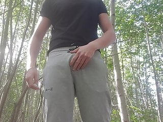 Big cock outdoor stripping
