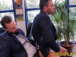 Cute stud enjoys taking his boss butt...
