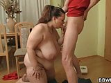 Sexy plump chick is nailed on the floor
