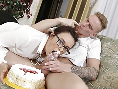 TUTOR4K. A cake with whipped cream and a huge cock