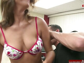 Brunette with natural tits picked up by a big dick