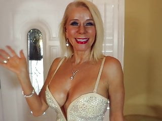 Nonnude Erotic Blonde Busty Old hot milf Sparkly gown heels