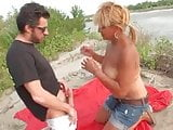 Blonde milf fucked outside