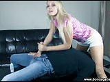 blonde Vanessa Cage teen gives a bondage handjob