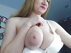 Busty 18 year old Jennifer milks tits and sucks nipple