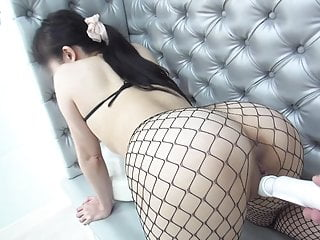 Super hot wife wearing a fishnet body and tights