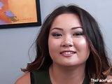 Asian brunette Gigi Skye gets face fucked