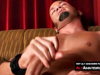 Handsome alt man masturbates cock...
