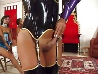 Dominate female makes slave boys jerk off a...