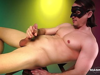 Maskurbate long haired hunk strips amp shows cock...