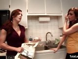 Busty MILF teaches young brunette how to cook and then some