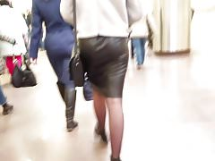 Small ass in leather skirt