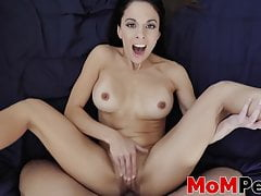 Horny MILF Licks Her Feet And Gives Footjob To Her Stepson