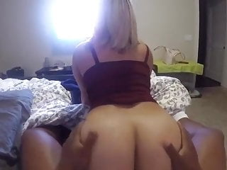 Big booty blonde taking black dick showing her...