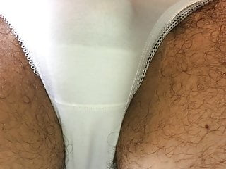 More white cotton panty pissing