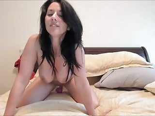 Brunette Gal Talking Dirty And Riding Her Dildo