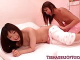 Japanese les teen schoolgirls share vibrator