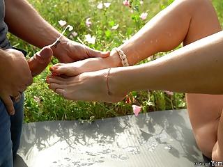 Incredible double cumshot cute feet...