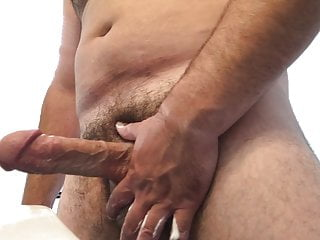 Jerking fat cock in bathroom with and cum...
