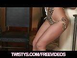 Beautiful bikini clad Gracie Glam shows off her flexibility