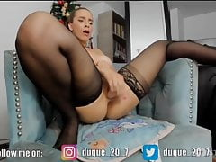 Andrea Duke, sexy big ass in stockings squirts